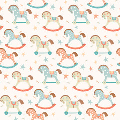 Seamless kids, baby rocking horse seamless pattern. First toys. Vector eps 10 illustration on white. Cloth, wallpaper, wrapping, fabric, print , surface, baby shower design.