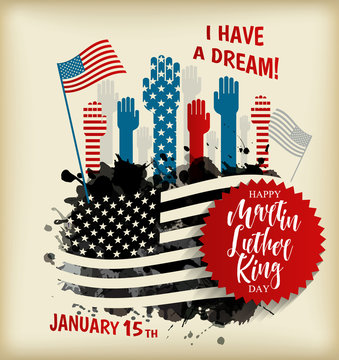 Martin Luther King Day flyer, banner or poster. Holiday background with waving flag in man s hand. Vector flat illustration.