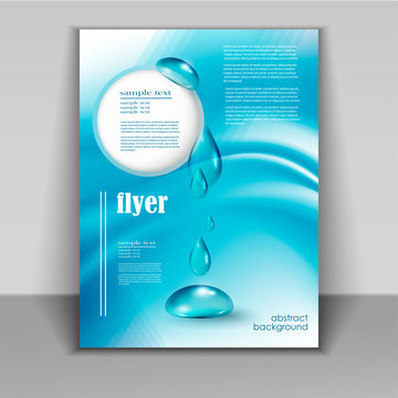 flyer with drops of pure water
