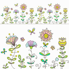 Floral seamless pattern, doodle background, hand-drawn pattern.