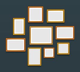Frame on wall. Gallery. Vector