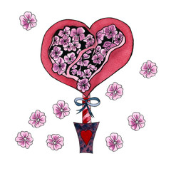 Red heart with blooming  pink flowers. Love