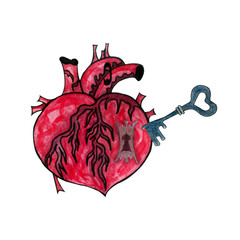 Watercolor illustration of a heart with keyhole and key.