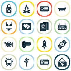 Travel icons set with restaurant, train ticket, picture and other aircraft banner