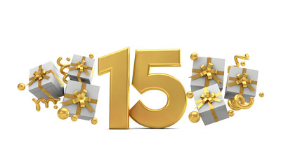 Number 15 gold birthday celebration number with gift boxes. 3D Rendering
