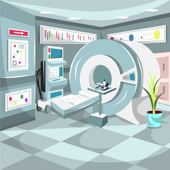 Clean Chemotherapy Hospital Cancer Treatment Room with Full Professional Medical Stuff and Green Plants for Cartoon Vector Illustration Ideas