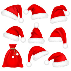 Christmas Santa Claus Hats With Fur Set, Bag, Sack. New Year Red Hat Isolated on White Background. Winter Cap. Vector illustration.