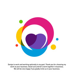Love Heart Creative logo concepts, abstract colorful icons, elements and symbols, template - Vector