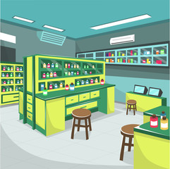 Medical Pharmacy Laboratory Hospital Room with Green Table Full of Midicine Stuff and Microscope for Cartoon Vector Illustration Ideas