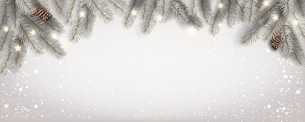 Fototapete - Christmas white snowy background with fir branches, stars, pine cones. Xmas and New Year theme. Vector Illustration