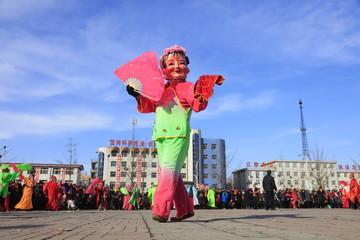 Chinese folk Yangko performance, Luannan County, Hebei Province, China
