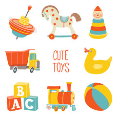 Kids First Toys icon set. Baby shower design element. Cartoon vector hand drawn eps 10 illustration isolated on white background.