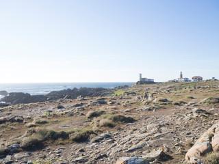 Paisaje del faro de Corrubedo en la Costa da Morte de Galicia, España, verano de 2018