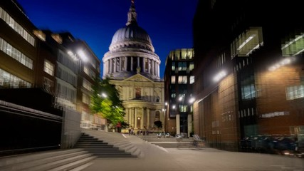 Fotomurales - hyper lapse, St. Pauls cathedral and Millennium Bridge in sunset time, London, UK