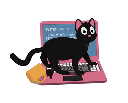 Gray cat and a pink laptop with a screen of death. The cat ruined the laptop.