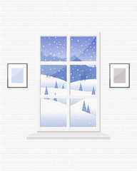 Cozy room with a window and a view of the winter landscape: mountains, snowdrifts, trees, deer, snow falls.