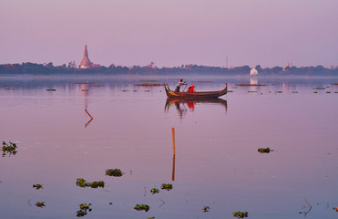 The surface of Taungthaman Lake, Amarapura, Myanmar