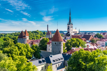 Tallinn in Estonia, panorama of the medieval city with Saint-Nicolas church, colorful houses and typical towers  Fototapete