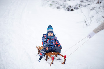 Happy boy on the sled at winter day
