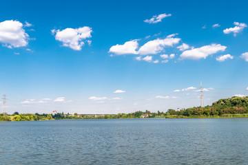 the view on the lake in Lacul Cernica in Romania