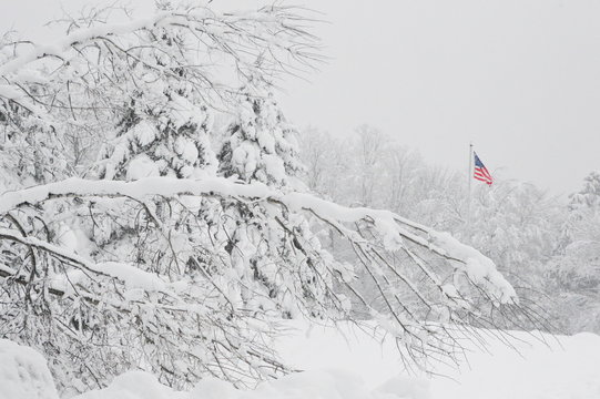 American Flag in winter snow