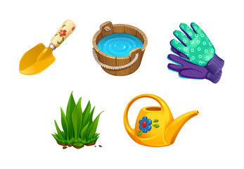 vector set of realistic isolated objects garden tools for working in the garden