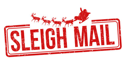 Sleigh mail sign or stamp