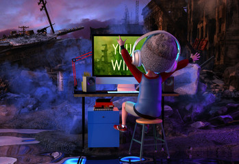 Happy kid boy gamer imagine winning real battle while playing video game on pc computer. Funny child cartoon character of little boy wearing headphones. Virtual gaming concept. 3D render