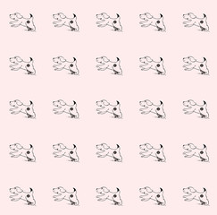 Cute, cheerful and joyful puppy runs. Pattern hand-drawing on a pink background
