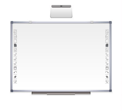 realistic interactive educational board, with metal frame, electronic materials, slides, software for an educational institution