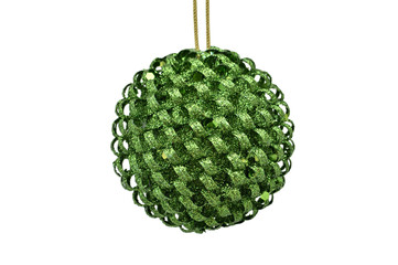 Green Christmas  & New Year tree cone balls against white background