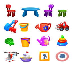 vector Set of funny cute colorful items  for kids room and sandbox
