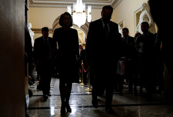 House Minority Leader Nancy Pelosi (D-CA) and Senate Minority Leader Chuck Schumer (D-NY) walk after speaking to the media ahead of a possible partial government shut down in Washington