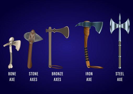 realistic set of historical fighting axes: bone, stone, bronze, iron, steel.