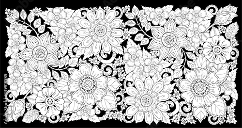 Ethnic floral zentangle, doodle background pattern in vector