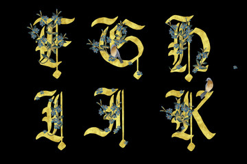 Hand drawn gold glitter lettering, alphabet for postcards, logos, posters, prints, ivnitations. Floral font typeset illustrationon in gothic style. part 2