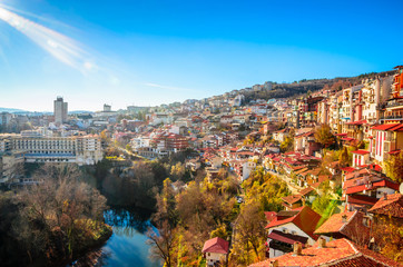 Aluminium Prints Eastern Europe Aerial view of Veliko Tarnovo in a beautiful autumn day, Bulgaria