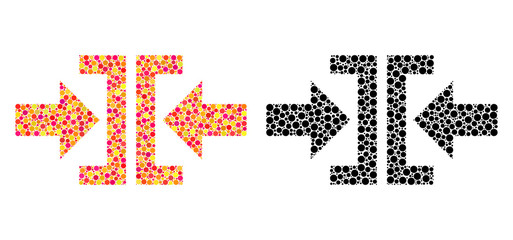 Dot press horizontal direction mosaic icons. Vector press horizontal direction icons in colorful and black versions. Collages of casual round elements.
