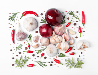 Composition with garlic, peppers and onions on white background, top view