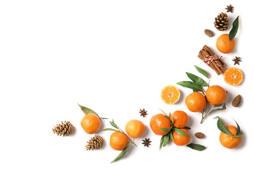 Christmas composition with ripe tangerines and space for text on white background, flat lay
