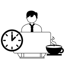 businessman working computer clock and coffee