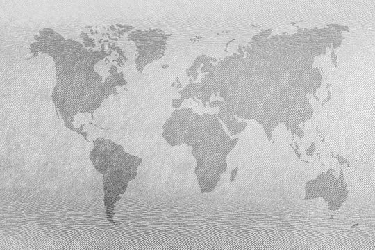 World map vintage pattern on skin background in light white tone, watercolor.