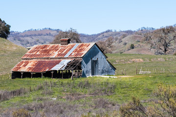 Old, abandoned barn in the hills of Joseph D Grant County Park, south San Francisco bay area, California