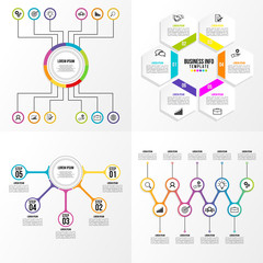 Business Set Infographics Elements Data Visualization Template Design Vector Editable