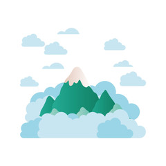 mountain with clouds isolated icon
