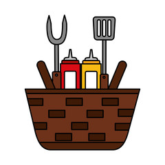 wicker basket sauces and utensils barbecue