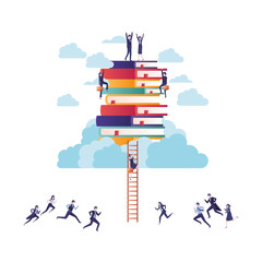 group of business with books and stair