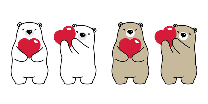 Bear vector polar bear heart valentine hug love cartoon character icon logo isolated illustration