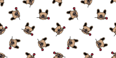 Dog seamless pattern french bulldog vector valentine rose flower tile background cartoon scarf isolated repeat wallpaper