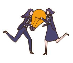 Businesswomen with lightbulb avatar character